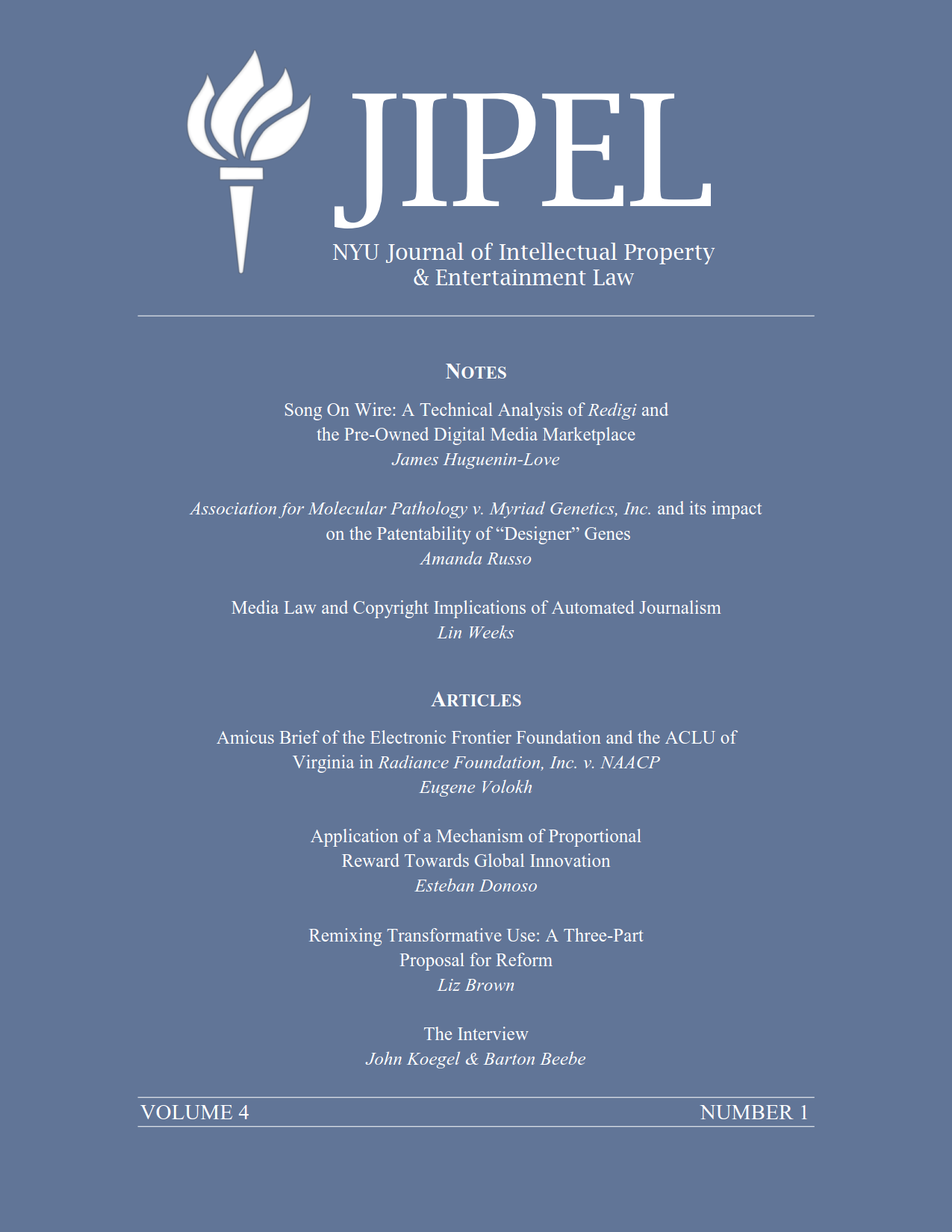 Jipel Vol 4 No 1 1988 Jeep Wrangler Wiring Harness Install Feelin 39 Burned Jp The Nyu Journal Of Intellectual Property And Entertainment Law Is Proud To Present Its Winter 2014 Edition While Individual Pdfs Articles